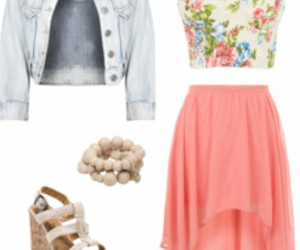 denim, floral, and fashion image