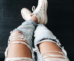 jeans, ripped, and all star image