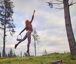 girl, trees, and fly image