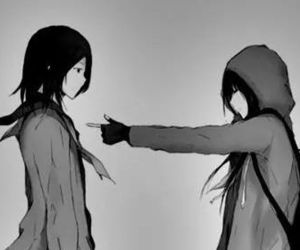 anime, cool, and black and white image