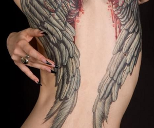 Angel Wings, back tattoos, and cool tattoos image