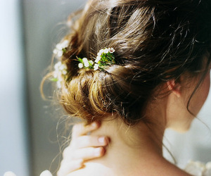 hair, flowers, and vintage image