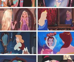 princess, disney, and mirror image