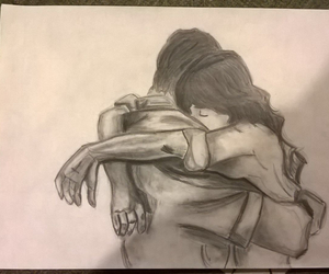 couple, drawing, and pencil image