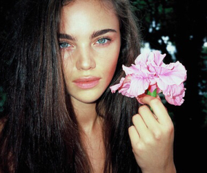 model, flowers, and eyes image