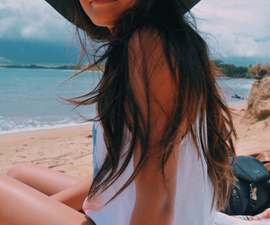 beach, floppy hat, and hair image