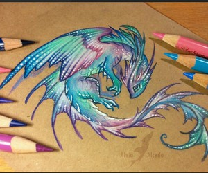 dragon, art, and blue image