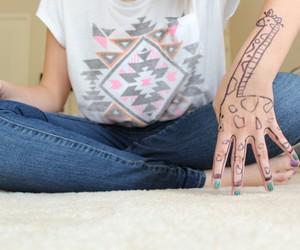 giraffe, drawing, and hand image