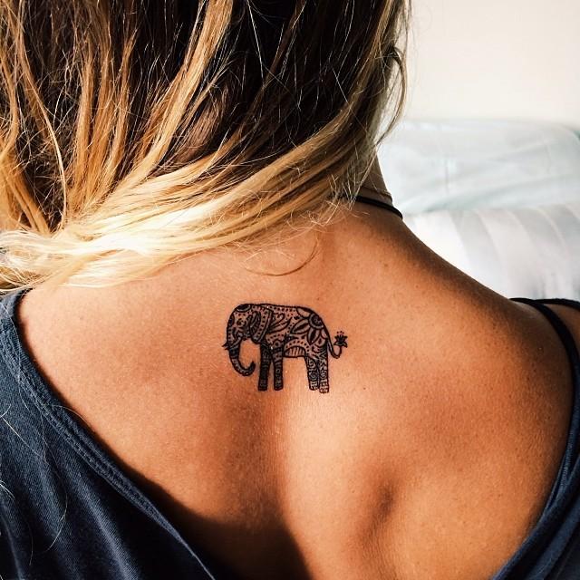 beach, Tattoos, and elephant image