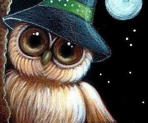 art, owl, and moon image
