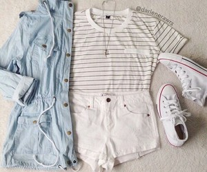 outfit, converse, and white image