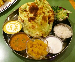 bread, curry, and indian food image