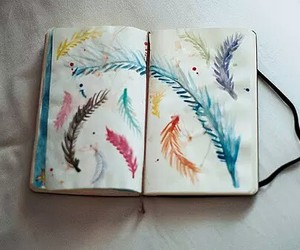 feather, art, and paint image