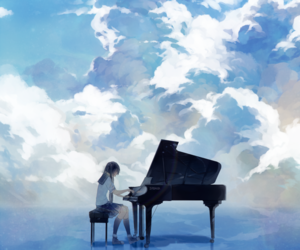anime, girl, and piano image