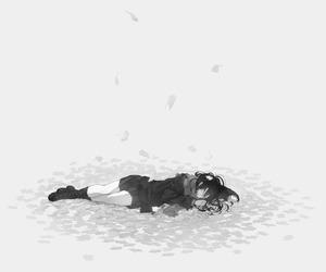 anime girl and monochrome image