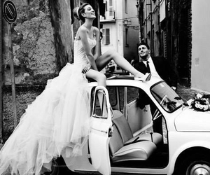 wedding, car, and black and white image