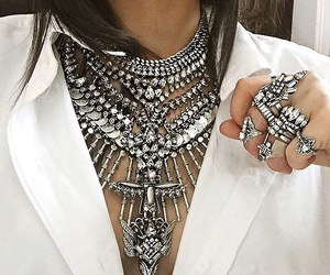 necklace, silver, and fashion image