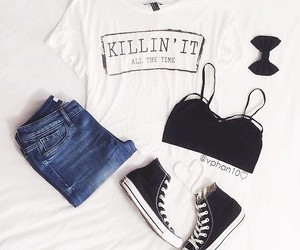 outfit, black, and converse image