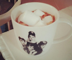 audrey hepburn, marshmallow, and cocoa image