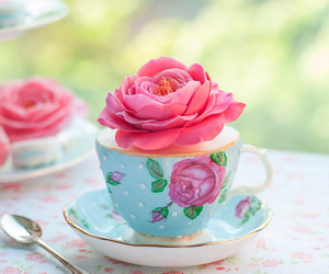 flowers, rose, and cupcake image