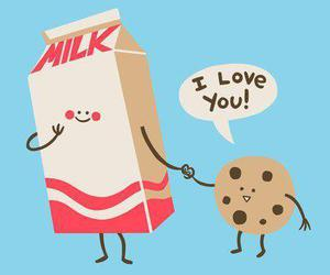 milk, love, and cookie image