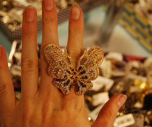 ring, butterfly, and hand image