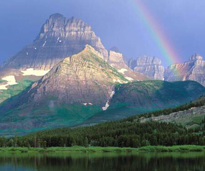 rainbow, mountains, and nature image