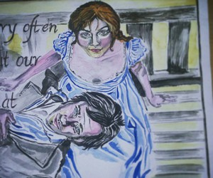 darcy, watercolor, and elizabethbennet image