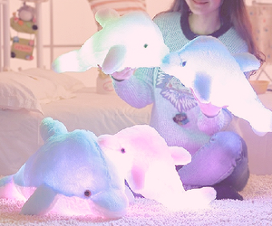 animal, glowing, and plush image