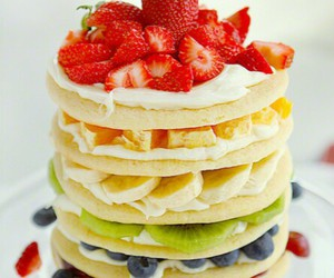 food, fruit, and pancakes image