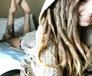 girl, dreads, and tattoo image