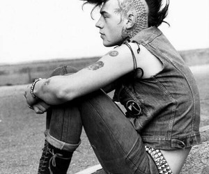 punk, boy, and black and white image