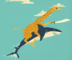 giraffe, shark, and funny image