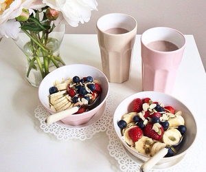 banana, drink, and flowers image