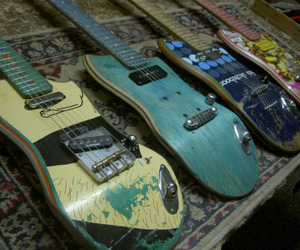 guitar, skate, and skateboard image