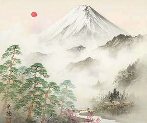 art, japan, and mountain image