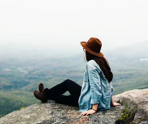 girl, nature, and hat image