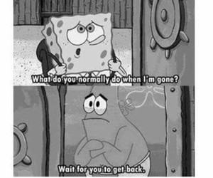 patrick, spongebob, and sad image