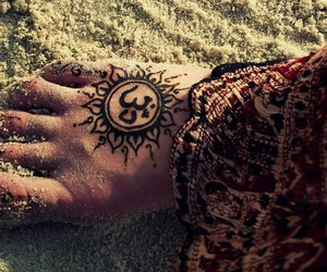 tattoo, feet, and sand image