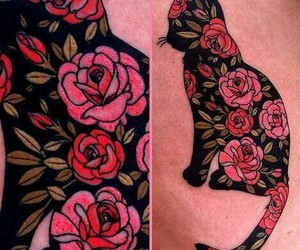 cat, flowers, and tattoo image