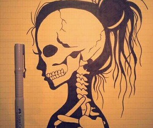 drawing, art, and skeleton image