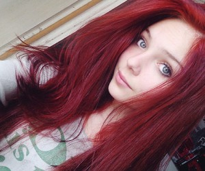 eyes, red, and hair image