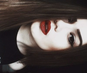 girl, red lips, and hair image