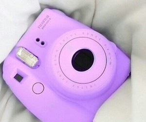 camera, purple, and polaroid image