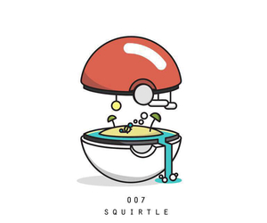 beach, squirtel, and inside a pokeball image