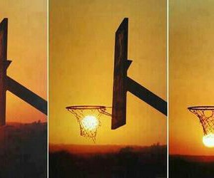 sun, Basketball, and sunset image