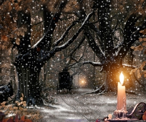 candle, nature, and snow image