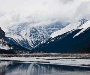 mountains, snow, and lake image