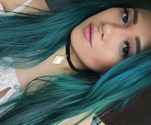 blue hair, grunge, and hair image