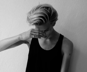 boy, black and white, and blonde image